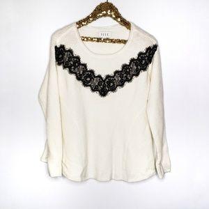 Elle Marshmallow White Black Lace Yoke Sweater NWT